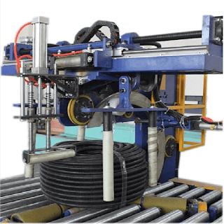 Horizontal hose coil wrapping machine