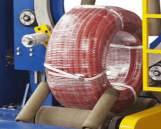 Plastic water pipe HDPE hose coil packaging stretch wrapper through eye machine