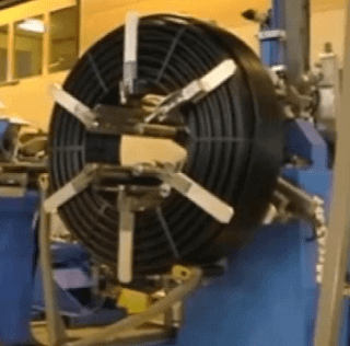 PE/PVC pipes coiling and strapping machine