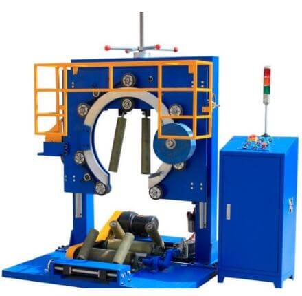 Steel coil and wire coil wrapping machine
